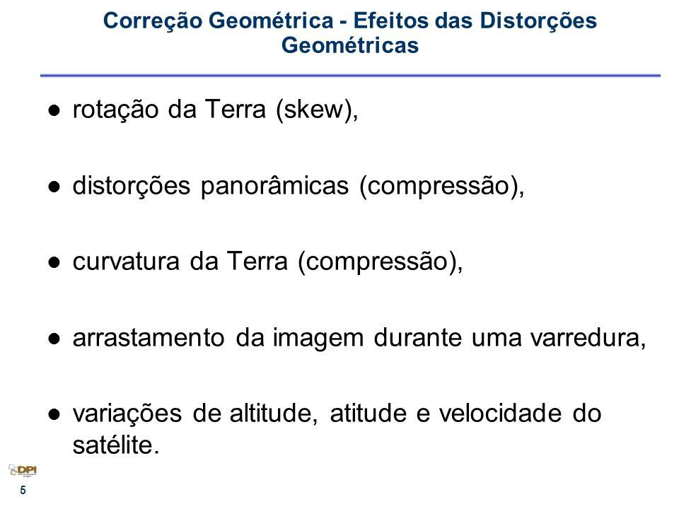 16 Correção Geométrica Envolve 3 grandes etapas que envolvem as considerações anteriores: – Transformação Geométrica (T) – Mapeamento Inverso (T -1 ) – Reamostragem