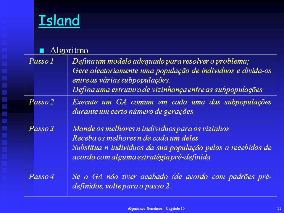 Algoritmos Genéticos - Capítulo 1511 Island Algoritmo Algoritmo Passo 1Defina um modelo adequado para resolver o problema; Gere aleatoriamente uma população de indivíduos e divida-os entre as várias subpopulações.