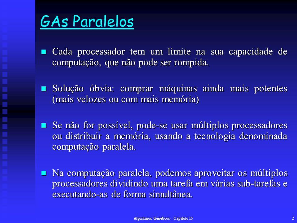 Algoritmos Genéticos - Capítulo 152 GAs Paralelos Cada processador tem um limite na sua capacidade de computação, que não pode ser rompida.