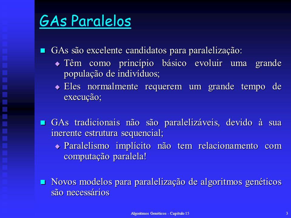 Algoritmos Genéticos - Capítulo 153 GAs Paralelos GAs são excelente candidatos para paralelização: GAs são excelente candidatos para paralelização: Têm como princípio básico evoluir uma grande população de indivíduos; Têm como princípio básico evoluir uma grande população de indivíduos; Eles normalmente requerem um grande tempo de execução; Eles normalmente requerem um grande tempo de execução; GAs tradicionais não são paralelizáveis, devido à sua inerente estrutura sequencial; GAs tradicionais não são paralelizáveis, devido à sua inerente estrutura sequencial; Paralelismo implícito não tem relacionamento com computação paralela.