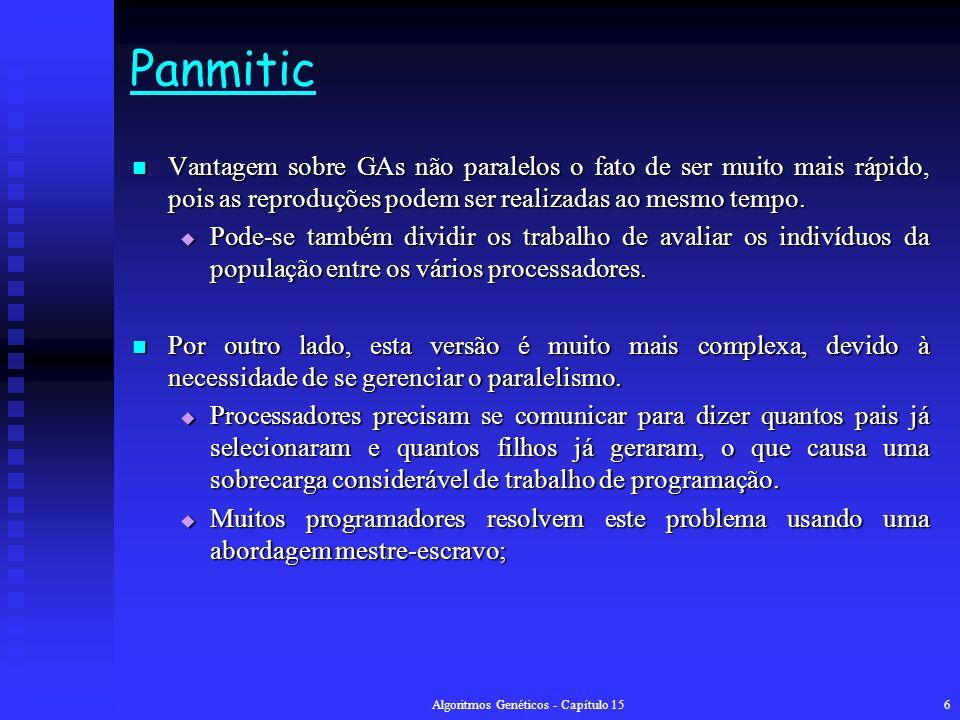 Algoritmos Genéticos - Capítulo 156 Panmitic Vantagem sobre GAs não paralelos o fato de ser muito mais rápido, pois as reproduções podem ser realizadas ao mesmo tempo.