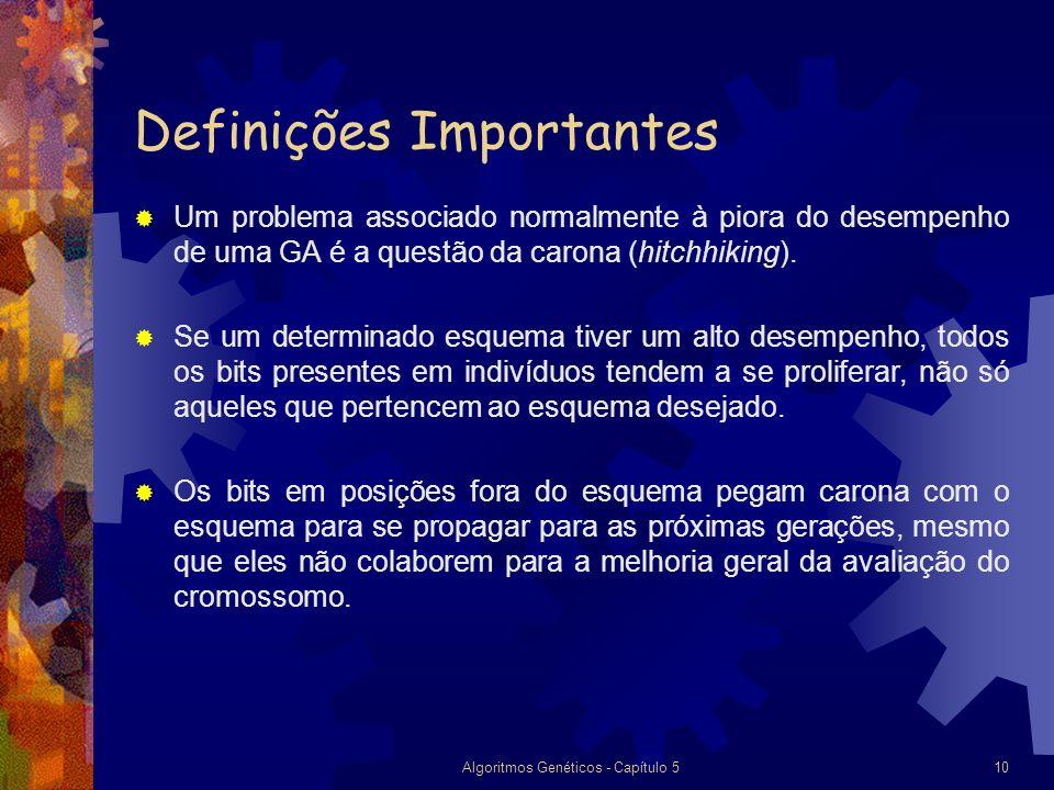 Algoritmos Genéticos - Capítulo 510 Definições Importantes Um problema associado normalmente à piora do desempenho de uma GA é a questão da carona (hitchhiking).
