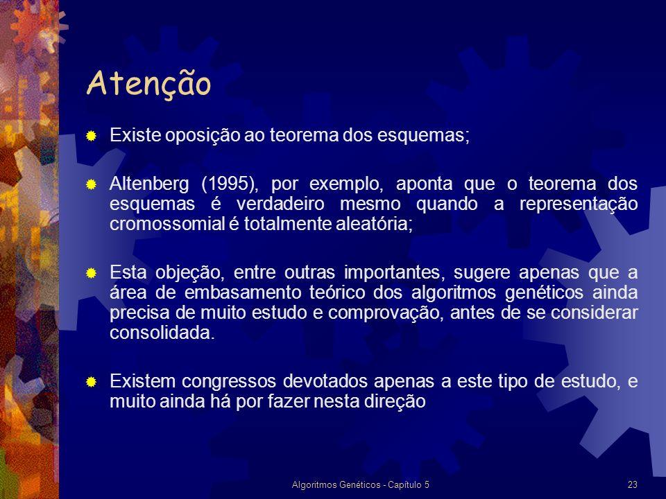Algoritmos Genéticos - Capítulo 523 Atenção Existe oposição ao teorema dos esquemas; Altenberg (1995), por exemplo, aponta que o teorema dos esquemas é verdadeiro mesmo quando a representação cromossomial é totalmente aleatória; Esta objeção, entre outras importantes, sugere apenas que a área de embasamento teórico dos algoritmos genéticos ainda precisa de muito estudo e comprovação, antes de se considerar consolidada.