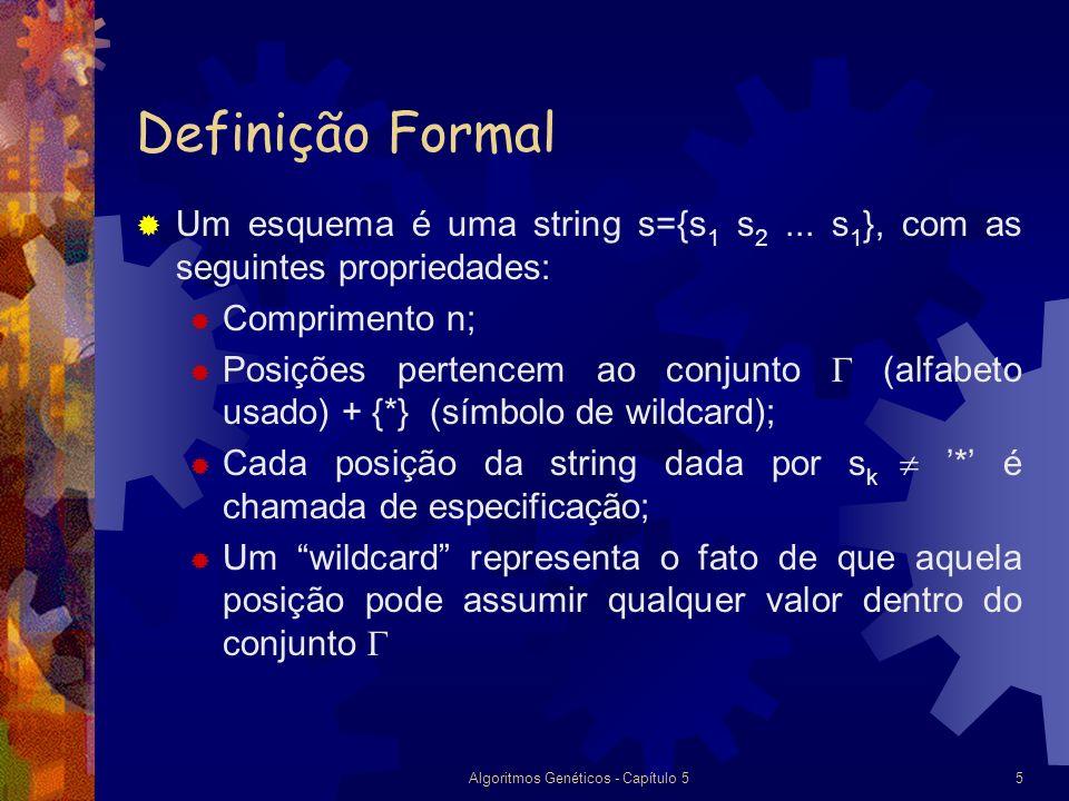 Algoritmos Genéticos - Capítulo 55 Definição Formal Um esquema é uma string s={s 1 s 2...