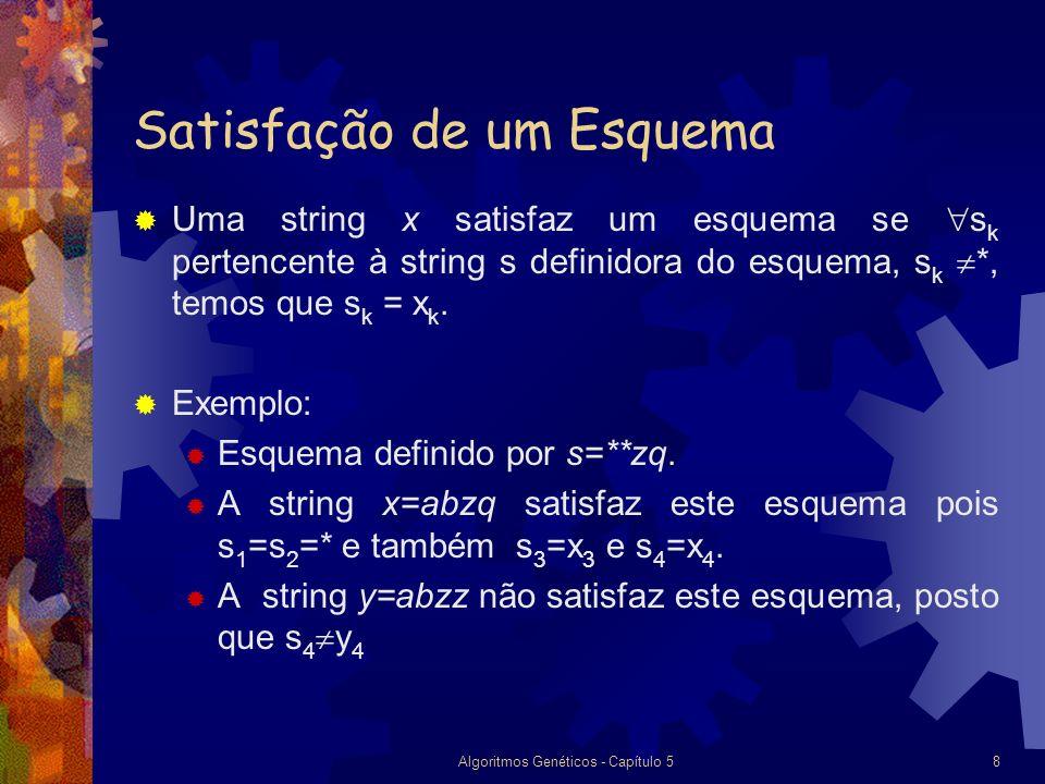 Algoritmos Genéticos - Capítulo 58 Satisfação de um Esquema Uma string x satisfaz um esquema se s k pertencente à string s definidora do esquema, s k *, temos que s k = x k.