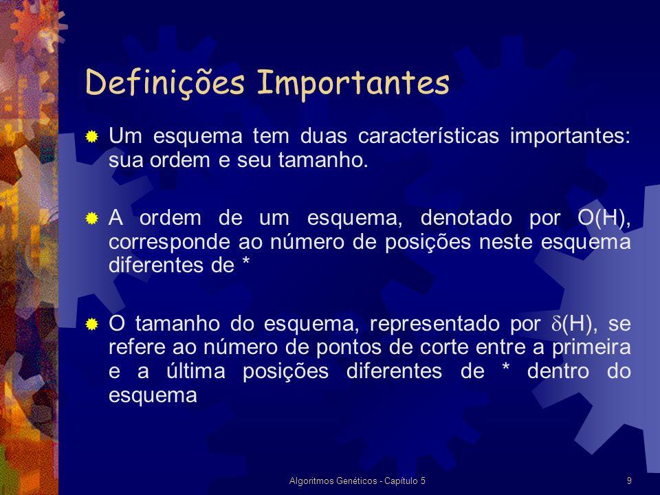 Algoritmos Genéticos - Capítulo 59 Definições Importantes Um esquema tem duas características importantes: sua ordem e seu tamanho.