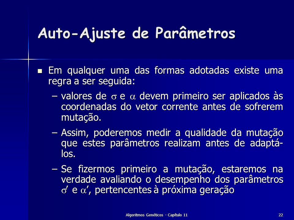 Algoritmos Genéticos - Capítulo 1122 Auto-Ajuste de Parâmetros Em qualquer uma das formas adotadas existe uma regra a ser seguida: Em qualquer uma das