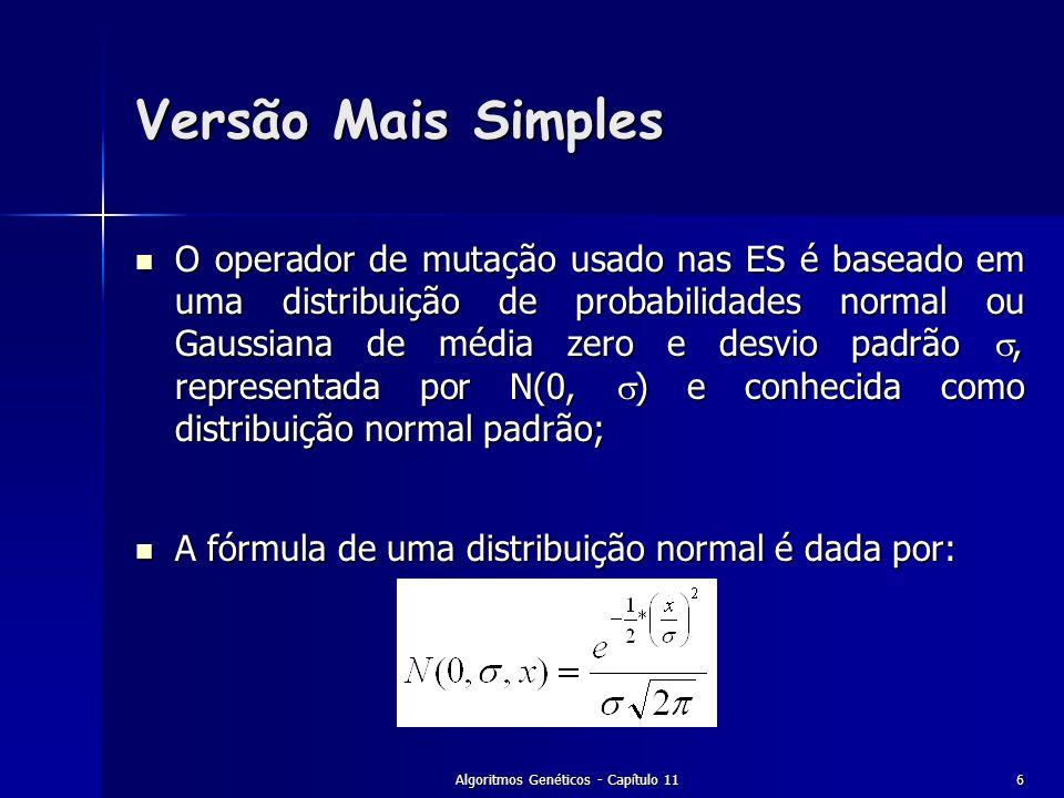 Algoritmos Genéticos - Capítulo 116 Versão Mais Simples O operador de mutação usado nas ES é baseado em uma distribuição de probabilidades normal ou G