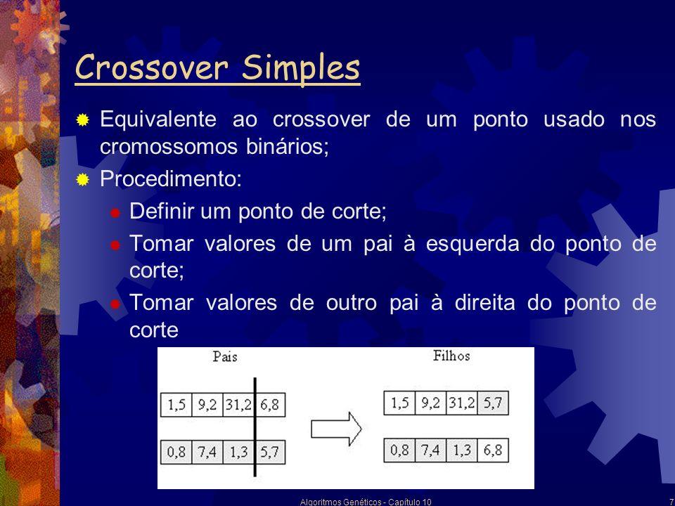 Algoritmos Genéticos - Capítulo 108 Crossover Flat Procedimento: Estabelecer um intervalo fechado para cada par de valores no cromossomo, do menor valor armazenado até o maior; Escolher um valor aleatório dentro deste intervalo; Os dois filhos podem ser bastante diferentes de ambos os pais;