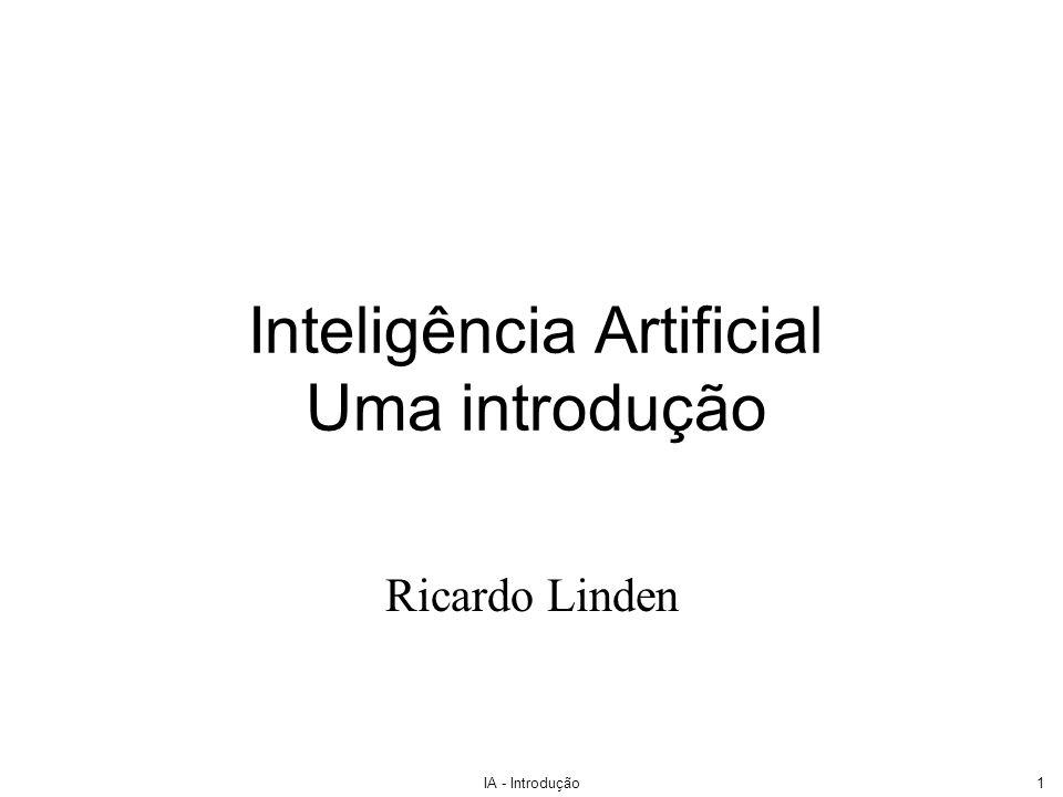 IA - Introdução1 Inteligência Artificial Uma introdução Ricardo Linden