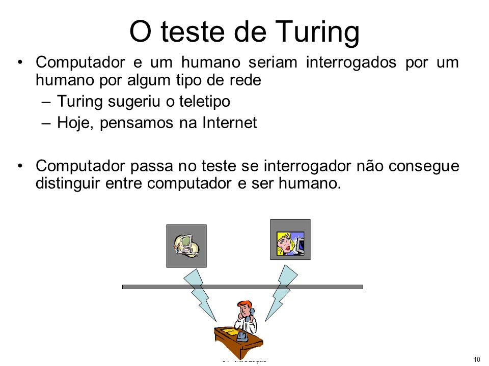 IA - Introdução11 O teste de Turing Requer –capacidade de processamento de linguagem natural –representação do conhecimento –raciocínio automatizado –aprendizado de máquina Teste de Turing extendido requer: –visão –robótica