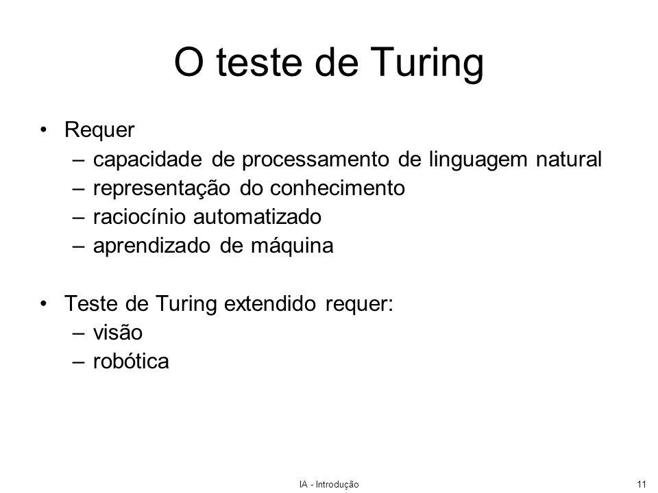 IA - Introdução11 O teste de Turing Requer –capacidade de processamento de linguagem natural –representação do conhecimento –raciocínio automatizado –