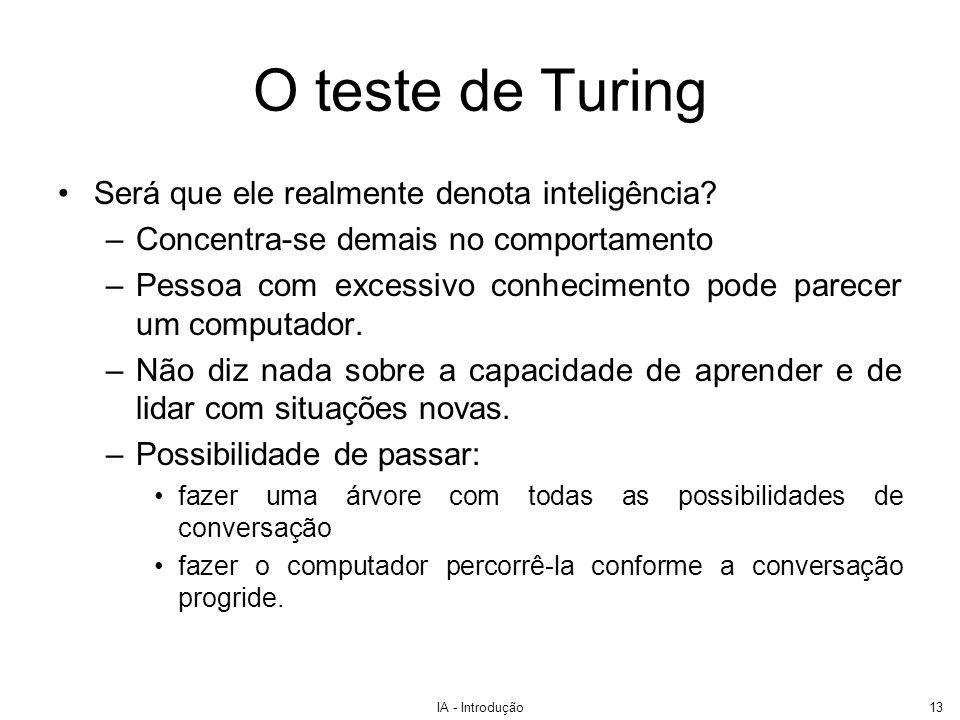 IA - Introdução14 O teste de Turing Ainda é popular Existe um concurso com prêmio de US$100.000,00 Endereço: http://www.loebner.net/Prizef/loebner-prize.htmlhttp://www.loebner.net/Prizef/loebner-prize.html Medalha de ouro do Prêmio Loebner