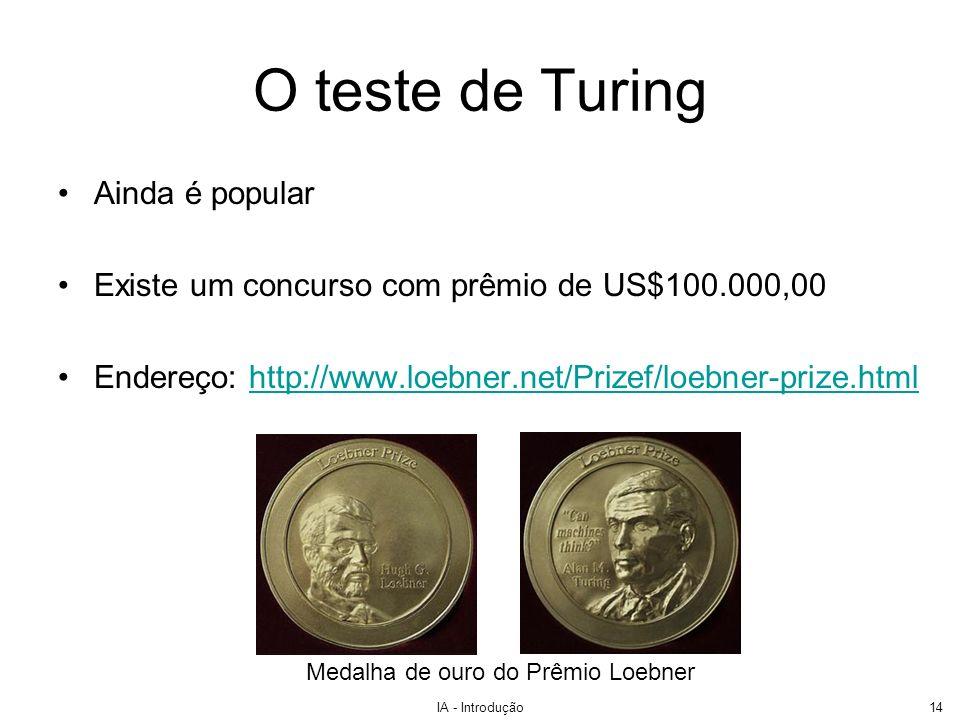 IA - Introdução14 O teste de Turing Ainda é popular Existe um concurso com prêmio de US$100.000,00 Endereço: http://www.loebner.net/Prizef/loebner-pri