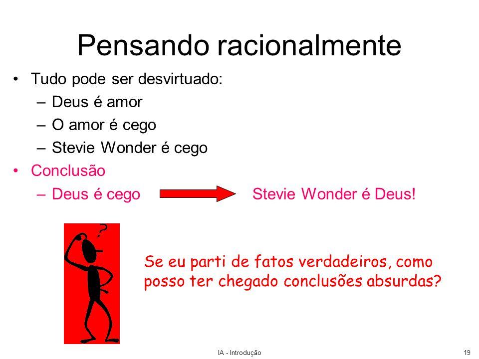 IA - Introdução19 Pensando racionalmente Tudo pode ser desvirtuado: –Deus é amor –O amor é cego –Stevie Wonder é cego Conclusão –Deus é cegoStevie Won