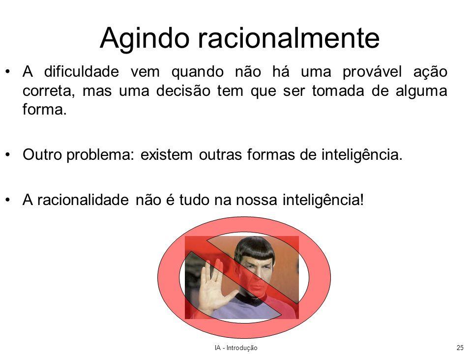 IA - Introdução26 Inteligência não Racional Será que as seguintes pessoas não possuem formas especiais de inteligência.
