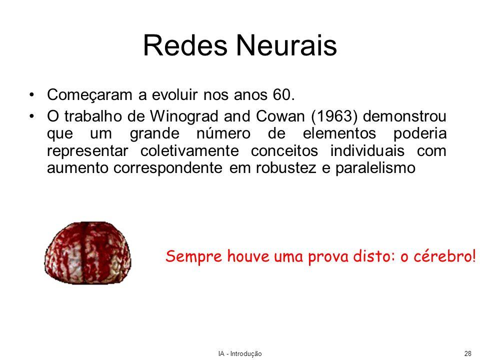 IA - Introdução28 Redes Neurais Começaram a evoluir nos anos 60. O trabalho de Winograd and Cowan (1963) demonstrou que um grande número de elementos