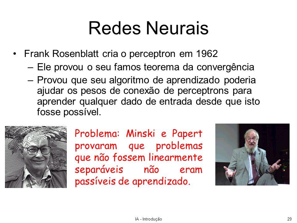 IA - Introdução29 Redes Neurais Frank Rosenblatt cria o perceptron em 1962 –Ele provou o seu famos teorema da convergência –Provou que seu algoritmo d