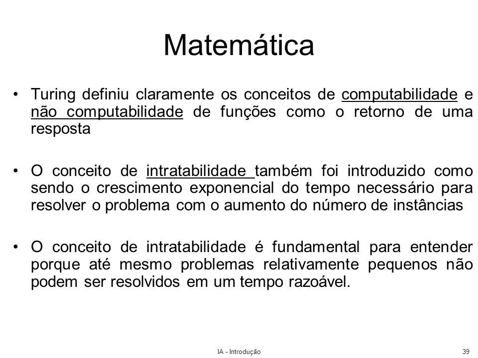 IA - Introdução39 Turing definiu claramente os conceitos de computabilidade e não computabilidade de funções como o retorno de uma resposta O conceito