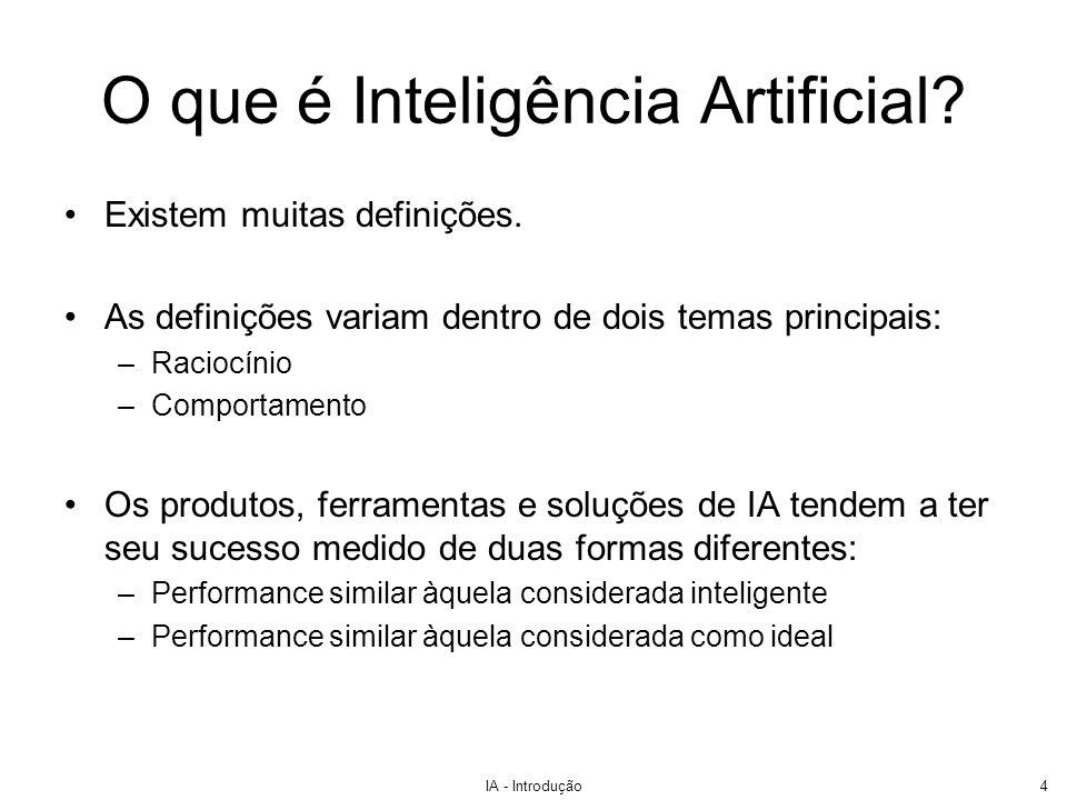 IA - Introdução4 O que é Inteligência Artificial? Existem muitas definições. As definições variam dentro de dois temas principais: –Raciocínio –Compor