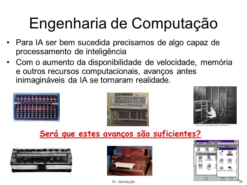 IA - Introdução50 Engenharia de Computação Para IA ser bem sucedida precisamos de algo capaz de processamento de inteligência Com o aumento da disponi