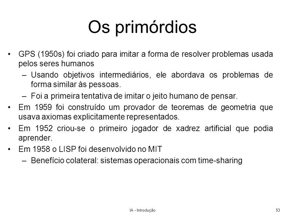 IA - Introdução54 Problemas da IA Nos anos 60 e 70 começaram a surgir problemas: –Muitos sucessos só se aplicavam a domínios extremamente limitados.