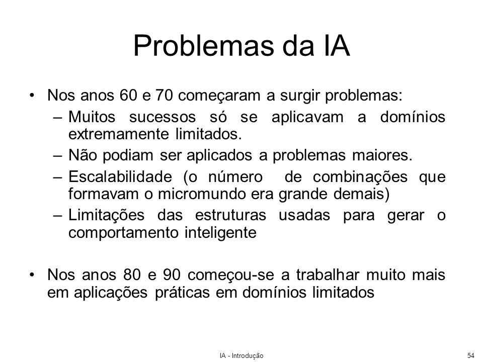 IA - Introdução54 Problemas da IA Nos anos 60 e 70 começaram a surgir problemas: –Muitos sucessos só se aplicavam a domínios extremamente limitados. –
