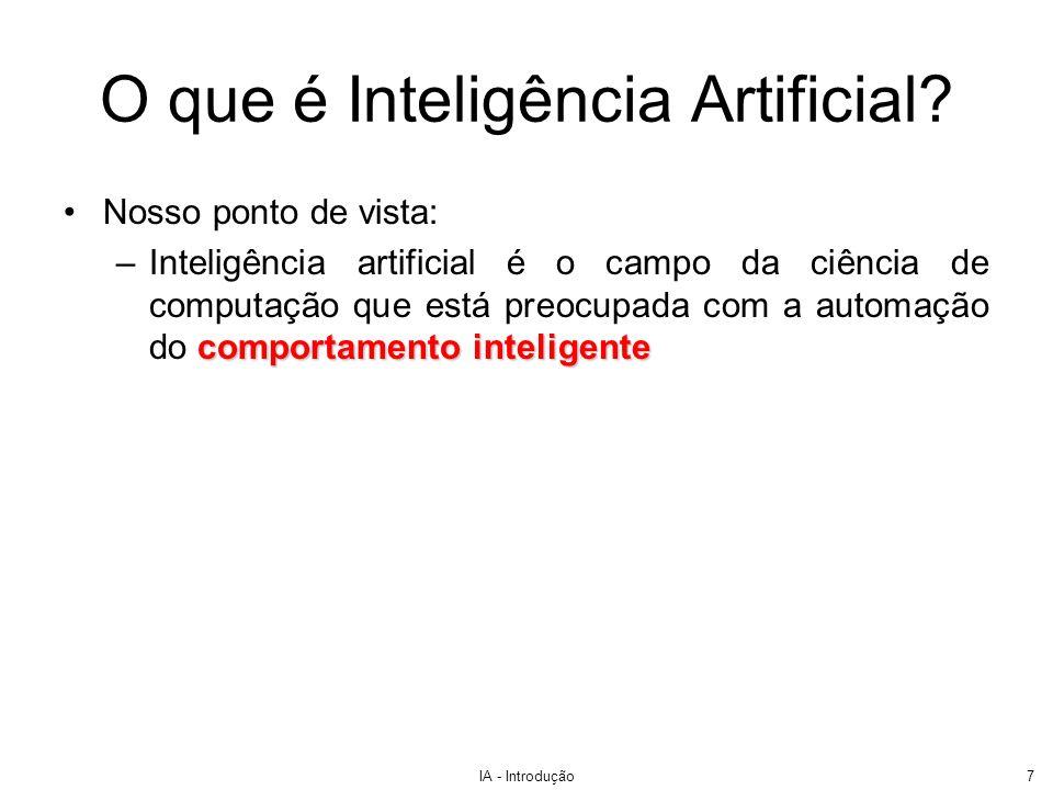 IA - Introdução7 Nosso ponto de vista: comportamento inteligente –Inteligência artificial é o campo da ciência de computação que está preocupada com a