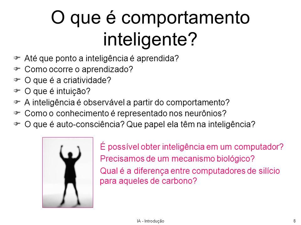 IA - Introdução9 O teste de Turing Proposto por Alan Turing em 1950 Idéia: obter uma forma satisfatória de definir a inteligência operacionalmente Definição de inteligência de Turing: a habilidade de obter uma performances de nível humano em todas as tarefas cognitivas de forma a enganar um interrogador humano