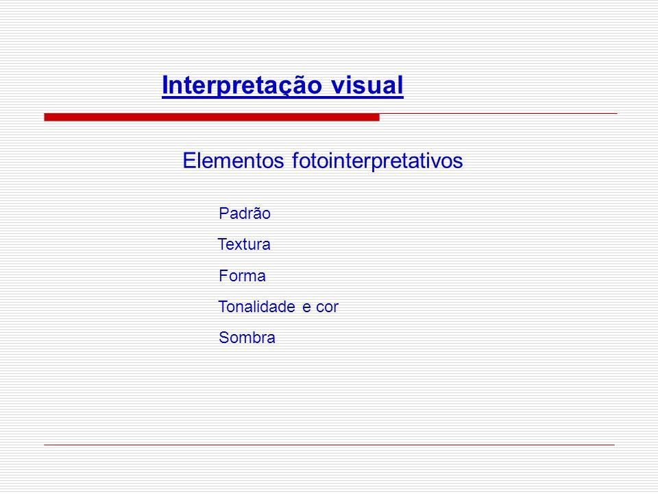 Interpretação visual Elementos fotointerpretativos Padrão Textura Forma Tonalidade e cor Sombra