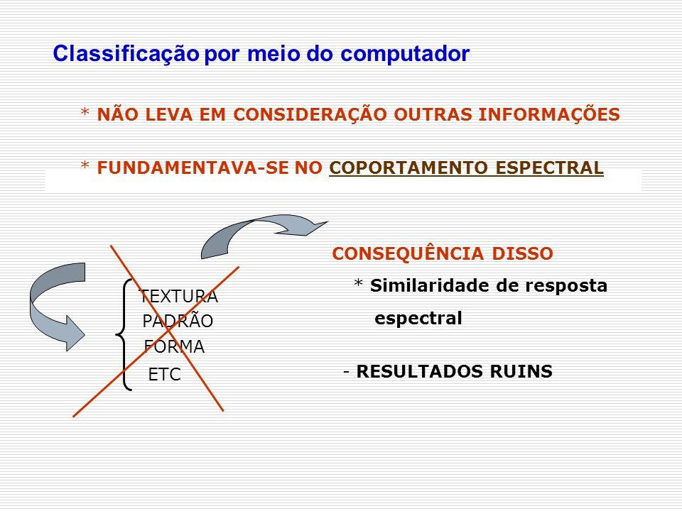 * NÃO LEVA EM CONSIDERAÇÃO OUTRAS INFORMAÇÕES TEXTURA PADRÃO FORMA ETC CONSEQUÊNCIA DISSO - RESULTADOS RUINS * Similaridade de resposta espectral Clas