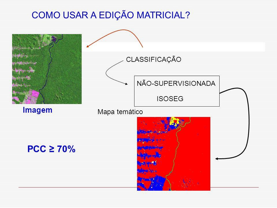 COMO USAR A EDIÇÃO MATRICIAL? CLASSIFICAÇÃO NÃO-SUPERVISIONADA ISOSEG Mapa temático Imagem PCC 70%