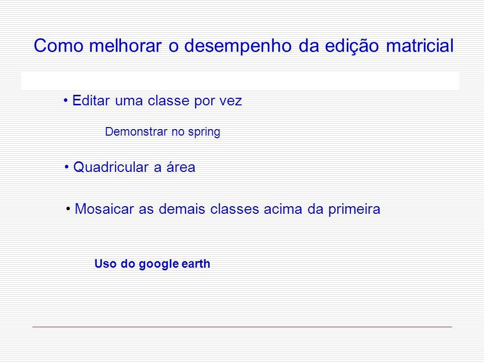 Como melhorar o desempenho da edição matricial Editar uma classe por vez Demonstrar no spring Quadricular a área Mosaicar as demais classes acima da p