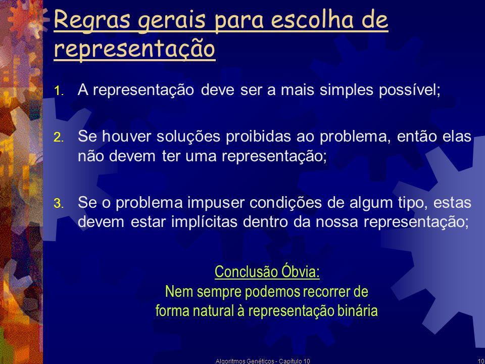 Algoritmos Genéticos - Capítulo 1010 Regras gerais para escolha de representação 1. A representação deve ser a mais simples possível; 2. Se houver sol