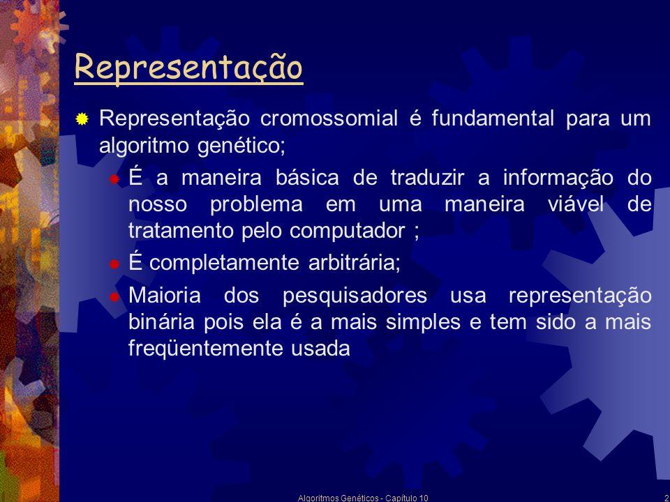 Algoritmos Genéticos - Capítulo 102 Representação Representação cromossomial é fundamental para um algoritmo genético; É a maneira básica de traduzir