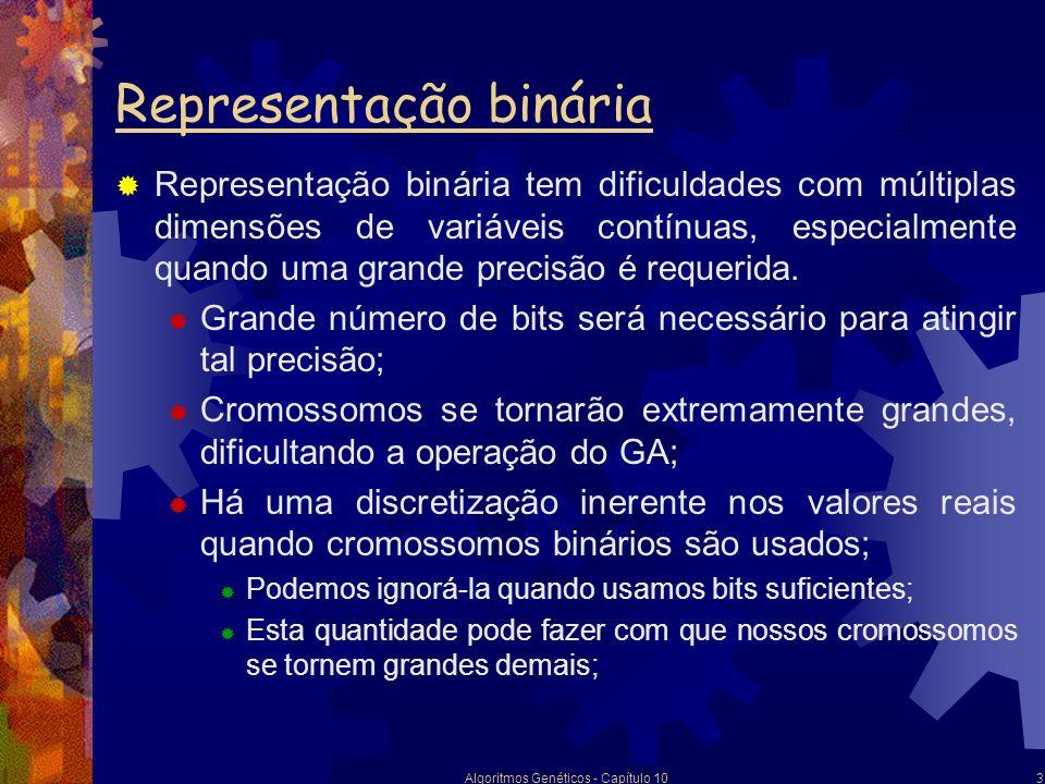 Algoritmos Genéticos - Capítulo 103 Representação binária Representação binária tem dificuldades com múltiplas dimensões de variáveis contínuas, espec