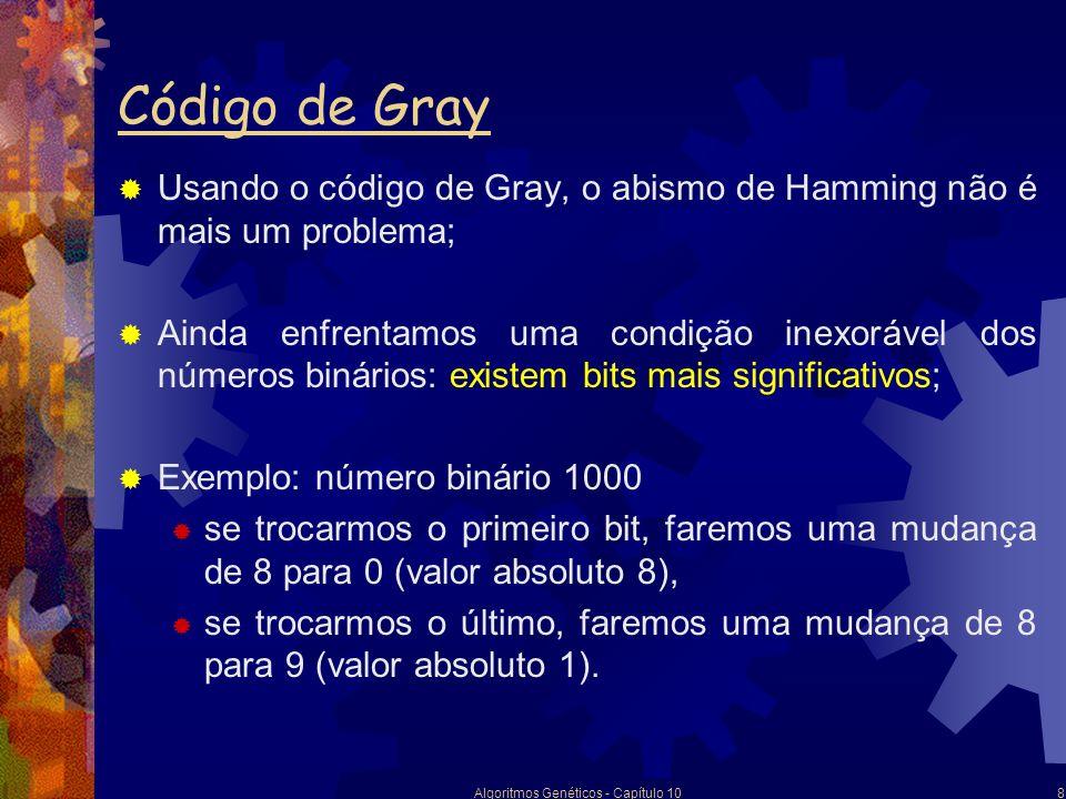 Algoritmos Genéticos - Capítulo 108 Código de Gray Usando o código de Gray, o abismo de Hamming não é mais um problema; Ainda enfrentamos uma condição