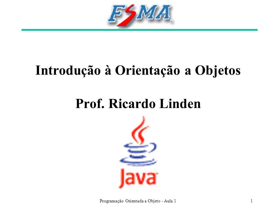 Programação Orientada a Objeto - Aula 11 Introdução à Orientação a Objetos Prof. Ricardo Linden
