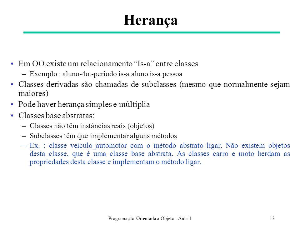 Programação Orientada a Objeto - Aula 113 Herança Em OO existe um relacionamento Is-a entre classes –Exemplo : aluno-4o.-período is-a aluno is-a pesso