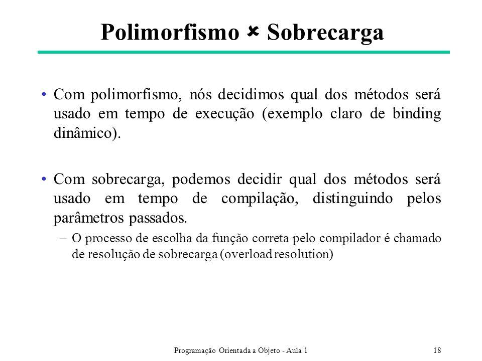 Programação Orientada a Objeto - Aula 118 Polimorfismo Sobrecarga Com polimorfismo, nós decidimos qual dos métodos será usado em tempo de execução (exemplo claro de binding dinâmico).