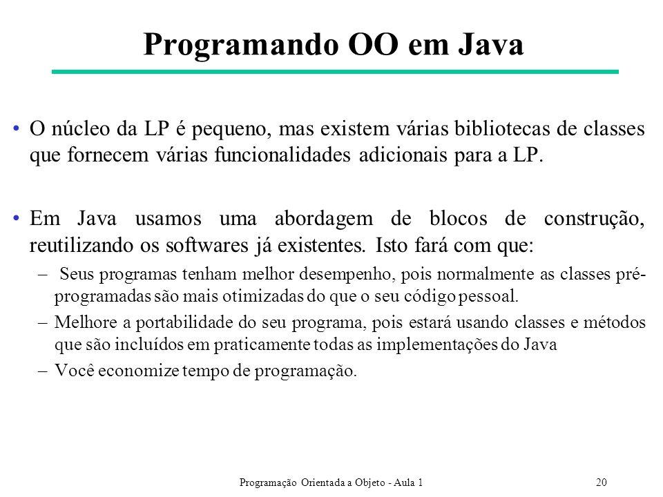 Programação Orientada a Objeto - Aula 120 Programando OO em Java O núcleo da LP é pequeno, mas existem várias bibliotecas de classes que fornecem várias funcionalidades adicionais para a LP.
