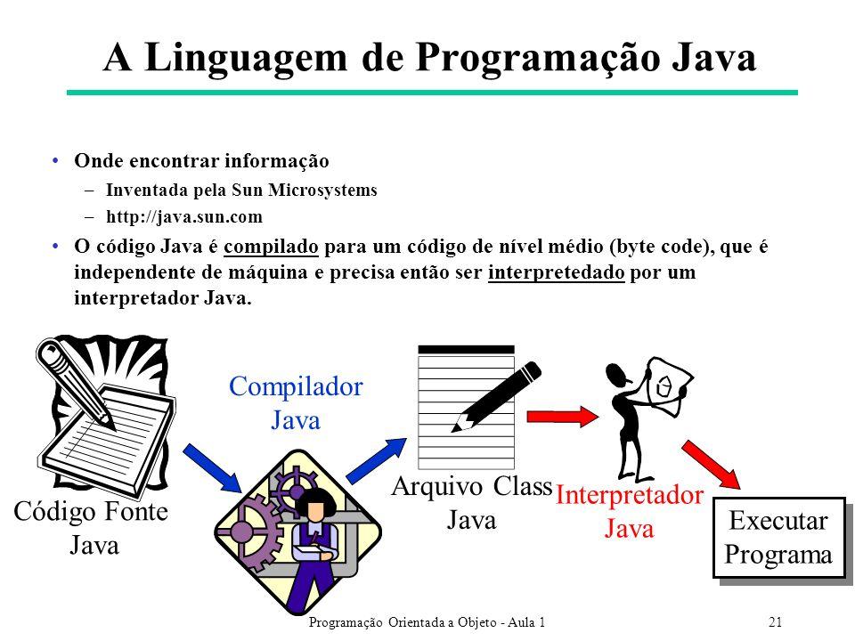 Programação Orientada a Objeto - Aula 121 A Linguagem de Programação Java Onde encontrar informação –Inventada pela Sun Microsystems –http://java.sun.com O código Java é compilado para um código de nível médio (byte code), que é independente de máquina e precisa então ser interpretedado por um interpretador Java.