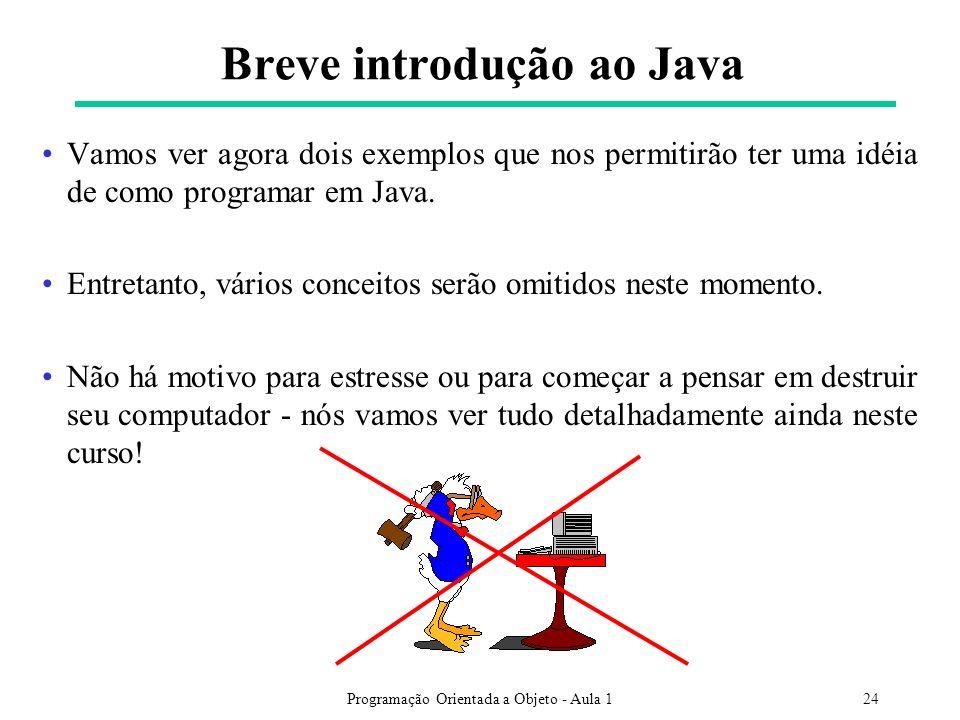 Programação Orientada a Objeto - Aula 124 Breve introdução ao Java Vamos ver agora dois exemplos que nos permitirão ter uma idéia de como programar em