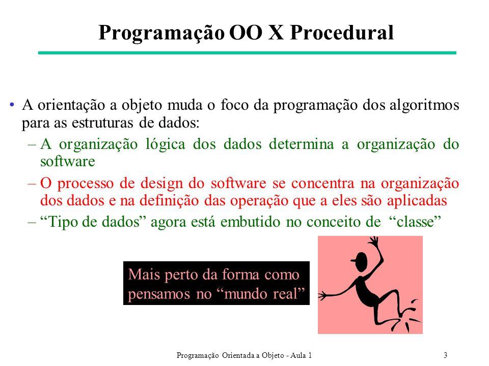 Programação Orientada a Objeto - Aula 13 Programação OO X Procedural A orientação a objeto muda o foco da programação dos algoritmos para as estrutura