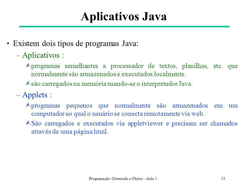 Programação Orientada a Objeto - Aula 133 Aplicativos Java Existem dois tipos de programas Java: –Aplicativos : Ùprogramas semelhantes a processador de textos, planilhas, etc.