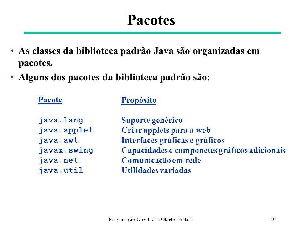 Programação Orientada a Objeto - Aula 140 Pacotes As classes da biblioteca padrão Java são organizadas em pacotes.