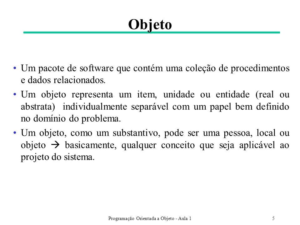 Programação Orientada a Objeto - Aula 15 Objeto Um pacote de software que contém uma coleção de procedimentos e dados relacionados. Um objeto represen