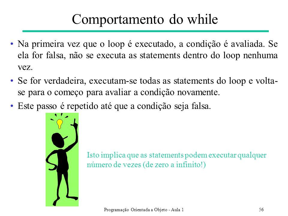 Programação Orientada a Objeto - Aula 156 Comportamento do while Na primeira vez que o loop é executado, a condição é avaliada. Se ela for falsa, não
