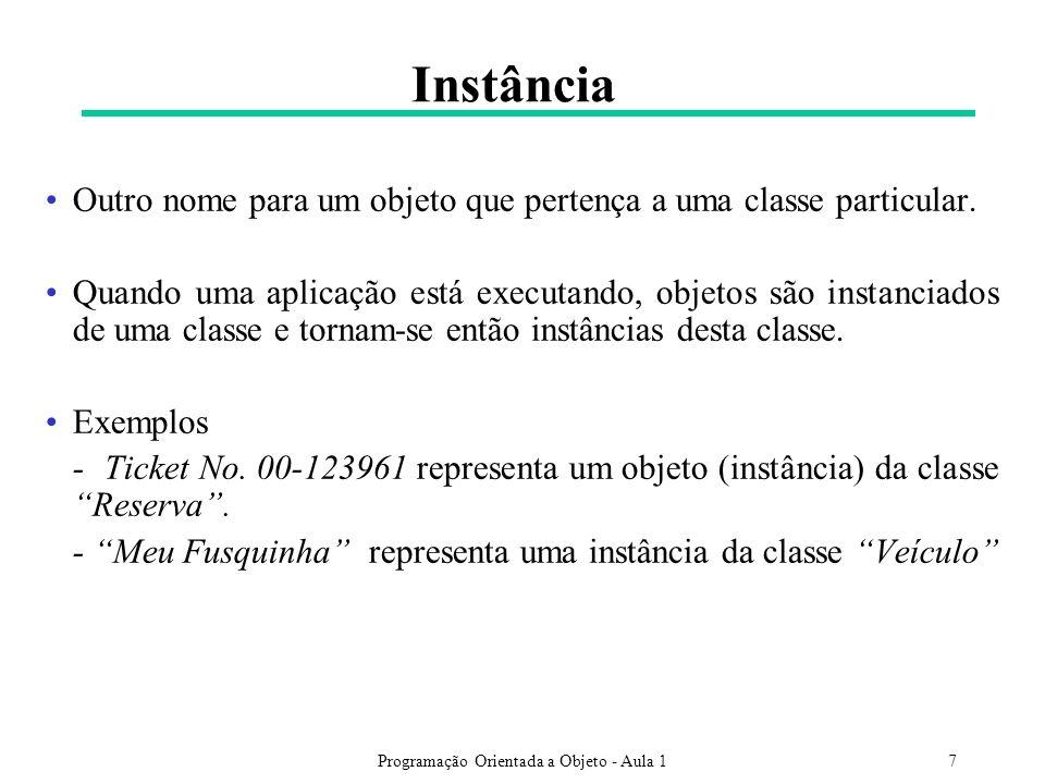 Programação Orientada a Objeto - Aula 17 Instância Outro nome para um objeto que pertença a uma classe particular. Quando uma aplicação está executand