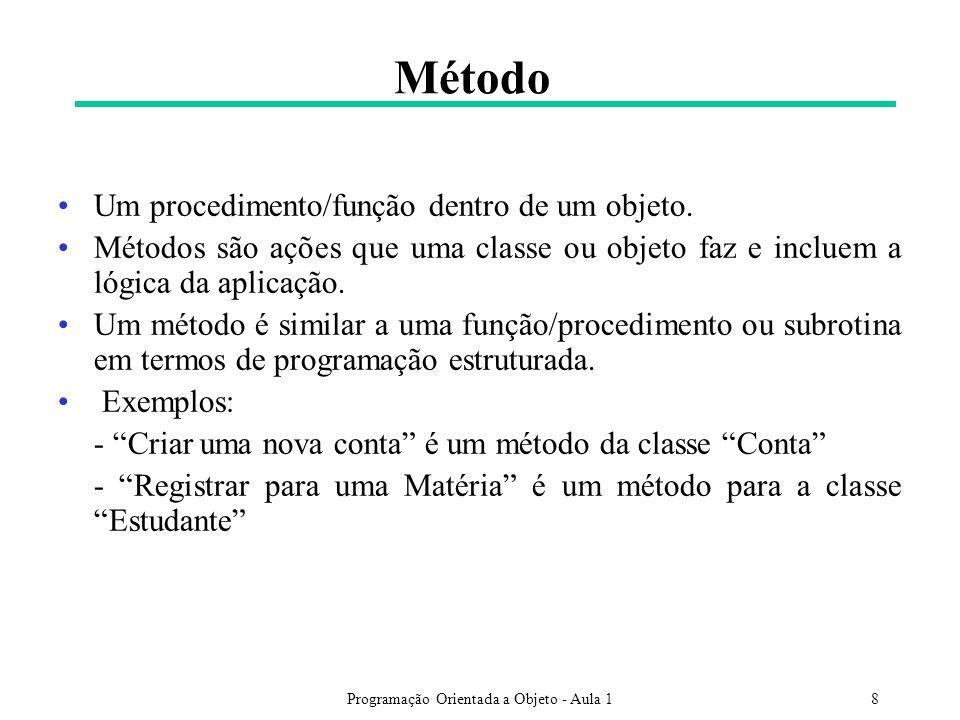 Programação Orientada a Objeto - Aula 18 Método Um procedimento/função dentro de um objeto. Métodos são ações que uma classe ou objeto faz e incluem a